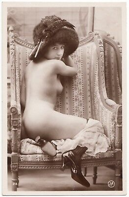 1910 Original French Erotic Rppc Nude Sexy Girl Lingerie Stockings Jean Agelou