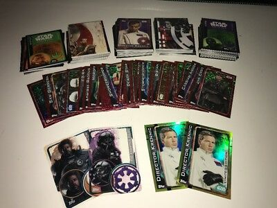 Star Wars Rogue One Topps Trading Cards Bundle 200 Unsorted Foil, Gold & Plastic