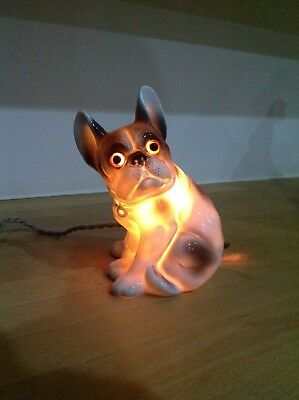 Art Deco French bulldog lamp.ceramic French bully nightlight,working.