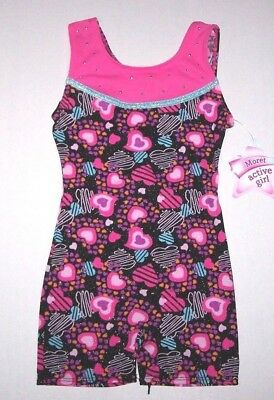 Nwt New Moret Heart Shapes Hearts Tank Biketard Unitard Pink Glitter Cute Girl