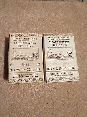 """2 boxes 1lb ea Tremont Nail Co. Old-Fashioned Cut Nails 8d = 2 1/2"""" choose yours"""