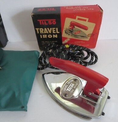 "VINTAGE 1960's NEAR MINT 7"" TISLO TRAVEL FOLDING IRON IN ORIGINAL BOX"