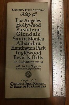 California Motor Route Map by Security-First National Bank Los Angeles Vintage