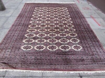 Old Traditional Hand Made Pakistan Oriental Wool Brown Pink Carpet 295x220cm