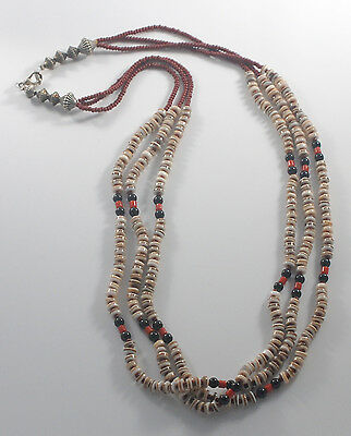 Vintage Shell Heishi Style Seed Beads Necklace Faux Coral Jet Triple Strand