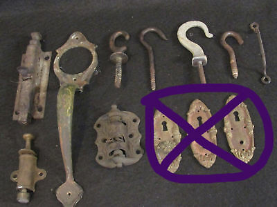 Lot of Antique Architectural Salvage Hooks Handles Covers Door Stops Working