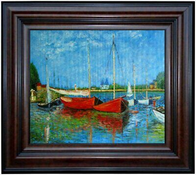 Framed, Claude Monet Red Boats Repro. Quality Hand Painted Oil Painting 20x24in