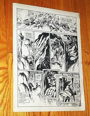 "B&W Stat proof art 11"" X 15"" Joe Kubert Tor #1 Page 5 Marvel Epic Comics"