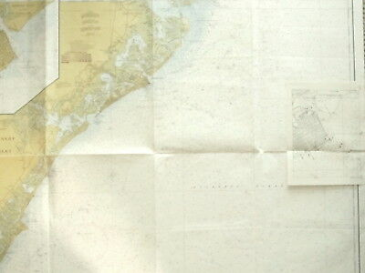Huge VINTAGE NAUTICAL CHART MAP NEW JERSEY LITTLE EGG INLET to HEREFORD INLET