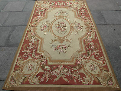 Old Hand Made French Design Original Wool 8 x 5 Beige Brown Aubusson 255X155cm
