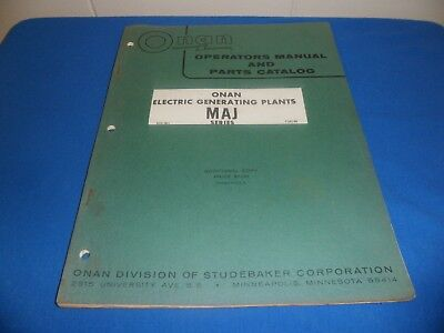 (Drawer 32) Onan MAJ Electric Generating Plants Operators Manual Parts Catalog