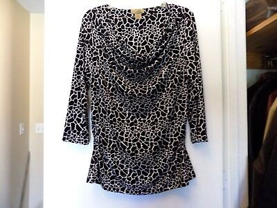 Black & White Print Blouse, Long Sleeves, Sparkling Dots, Fitted,  Rayon/Spandex