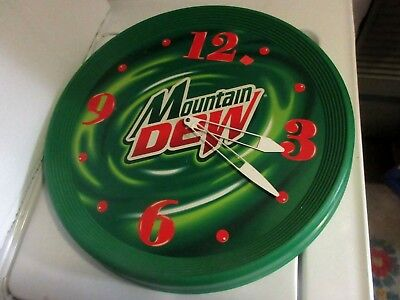 "Vintage  Mountain Dew  Clock Advertising Sign  Great, Excellent 18"" ROUND"