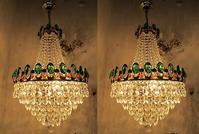 Pair Of Vnt French Basket Style Crystal Chandelier Lamp light 1960s 18in diametr