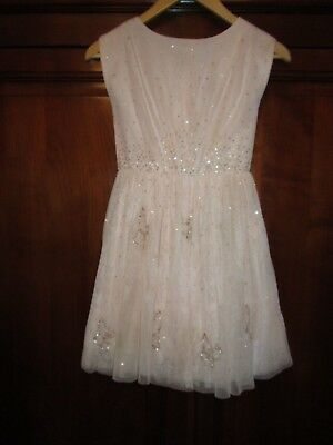 Next Signature Pale Pink Mesh Dress with Sequins 8 Yrs - Worn Once Only VGC