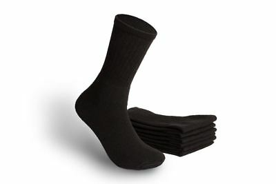 MEN'S ATHLETIC CREW SOCKS - PLAIN BLACK - SIZE 10-13(Wholesale Lot of 180 Pairs)