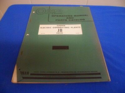 (Drawer 32) Onan JB Electric Generating Plants Operators Manual Parts Catalog