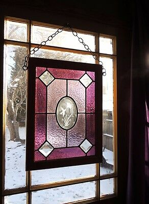 Lovely Hummingbird Purple Leaded Stained Glass Window Art Panel Traditional