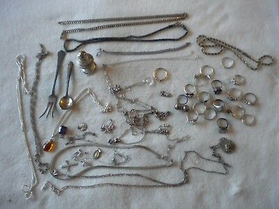 Sterling Silver  239.2 grams JEWELRY ALL .925 scrap and usable jewelry 48pc  t-3