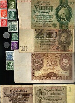 Nazi Germany Banknote, Coin And Stamp Set  # 92