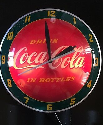 Coca Cola Double Bubble Light up Electric Clock Advertising Wall Soda