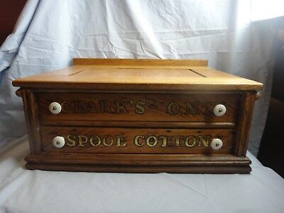 Antique Clarks ONT 2-Drawer Spool Cotton Thread Cabinet Counter Store Display