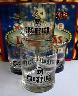 Frontier Hotel = 4 Casino Rocks Drink Glasses = Las Vegas = FREE SHIPPING