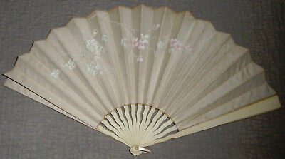 Antique Victorian Era Ladies Hand Painted Bone Handle Hand Fan
