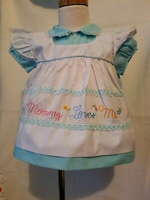 Vintage Baby Dress 12 18 Months 1 Piece Pinafore Mommy Loves Me Blue Pink