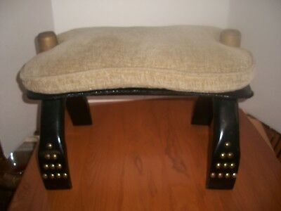 Vintage Camel Saddle Wooden Stool Ottoman With Rawhide Ties Brass Inlaid