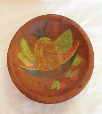 Antique Hand Painted Fruit Pattern Wooden Wood Bowl