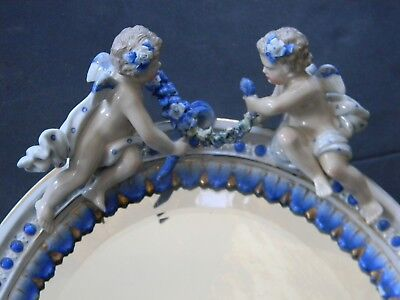 Antique Porcelain Oval Mirror With Flowers & Cherubs - Meissen Style