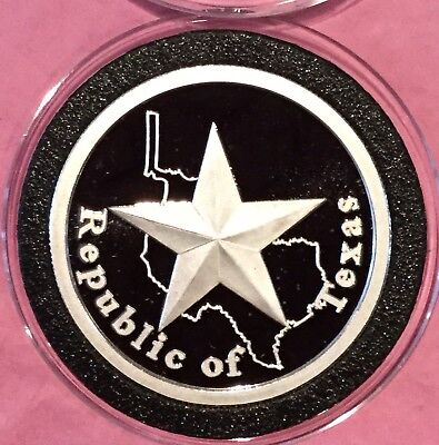 Republic Of Texas Collectible Proof Coin 1 Troy Oz .999 Fine Silver Round Medal