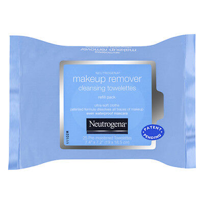 NEW Neutrogena Face Wipes Pack Pk 25 Make Up Remover Cleansing Towelette