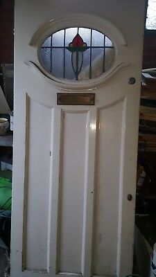1930s STAINED GLASS VICTORIAN FRONT DOOR PERIOD OLD RECLAIMED ANTIQUE LEADED