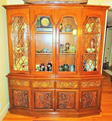 Antique Hand Carved AsianORNATETeakwood China Cabinet Hutch ~VERY NICE~ L@@K