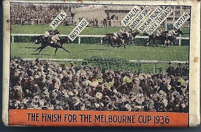 Match Box Cover - CAULFIELD / MELBOURNE CUPS 1936
