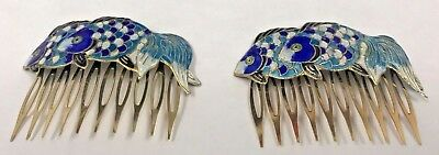 Vintage Pair of Cloisonne Enamel Blue Goldfish Hair Combs - Gorgeous Colors