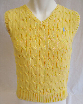 POLO RALPH LAUREN all Cotton, V-Neck Sweater Vest in Yellow, Boys sz 6