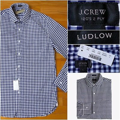 BNWT $90 J.Crew Ludlow Spread-Collar Shirt in Classic Navy Gingham, Large