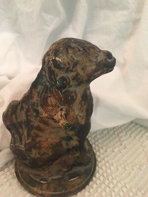 STAFFORDSHIRE SPANIEL DOG Cast Iron STATUE PAPERWEIGHT  Unusual