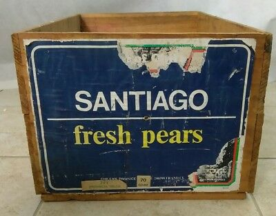 "Vintage Chilean Wood Fruit Crate Boxes Del Curto Pears 12"" x 19"" x 9"""