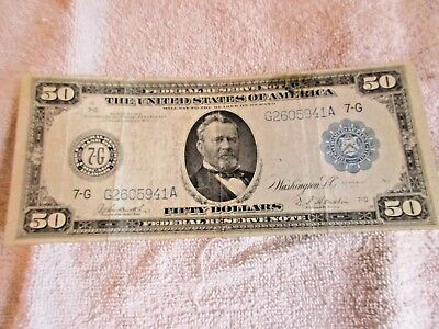 1914 - $50 Chicago Federal Reserve Note Blue Seal Large Size Bill circulated NR