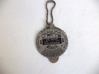 VINTAGE 22 YEAR CALENDAR KEY CHAIN ADVERTISING ELCO COAT CO, INC. New York CITY