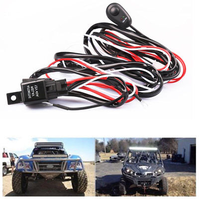 12V 40A LED Work Fog Light Bar Wiring Harness Relay Kit ON/OFF Switch Off Road
