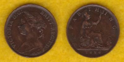 Great Britain Bronze Farthing 1884 Victoria  ---  Gbdn