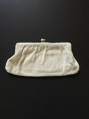 Vintage white hand beaded evening clutch