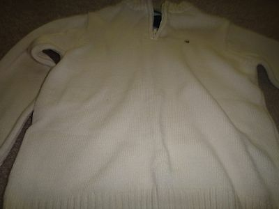 Tommy Hilfiger Sweater for Boy: Size 4: WHite: 100% Cotton:Zipper front:Zip Neck