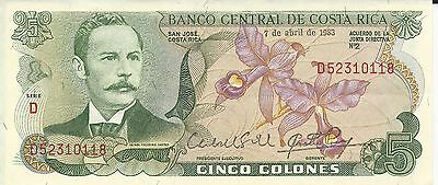 5 colones A Banknote of Costa Rica dated 1983 (Crisp Note)  >-->