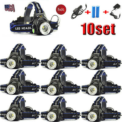 10sets 5000LM XML T6 LED Headlamp Headlight Zoom Rechargeable 18650+Charger LOT